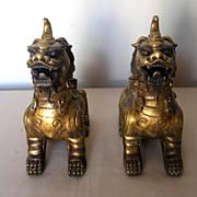 Chinese Pair of Gilt Bronze Qilin Censors