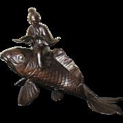 Large Meiji Fish with Scholar Sculpture