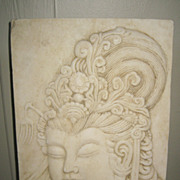 Exquisite Chinese Carved White Marble Guanyin Plaque