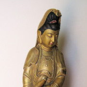 Chinese Gilt-Bronze Standing Guanyin