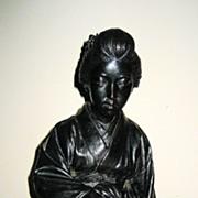 Late Meji Japanese Bronze Seated Geisha