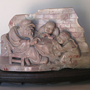 Chinese Stone Carving Sculpture of Figures Playing Go