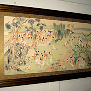 Chinese Painting of a Garden Scene with 100 Young Ladies