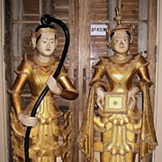 Pair of Beautiful Old Thai Gilt Wood Statues