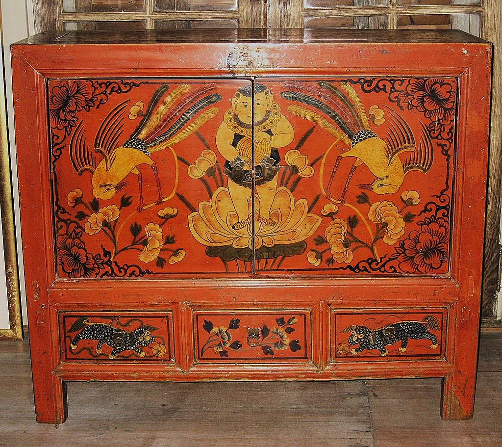 Antique chinese painted red small cabinet from for Chinese art furniture