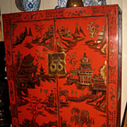Chinese Large Red Lacquer Cabinet