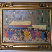 "Painting by Fortunato Voir  ""Dancing in the Plaza"""