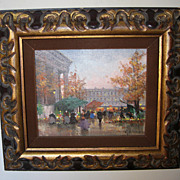 """SOLD Oil Painting of a """"Fall Paris Street Scene"""" by H. Shaeffer"""