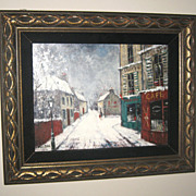 SOLD Oil Painting with a Winter Street Scene by Louis Dali