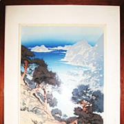 Splendid Woodblock Print of the Coast