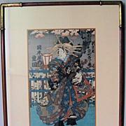 Japanese Woodblock Print of an Opera Singer