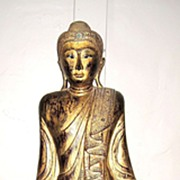 Exquisite Gilt-Wood Figure of a Standing Buddha
