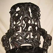 Whimsical Japanese Art Nouveau Carved Wood Monkey Chair