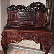 Exquisitely Carved Japanese Export Dragon Desk