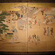 Japanese 19th Century Two-Panel Screen of a vibrant Village Scene