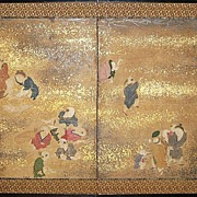 19th Century Japanese Four-Panel Screen of Children