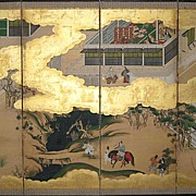 """Japanese Six-Panel Screen of """"The Tales of Genji"""""""