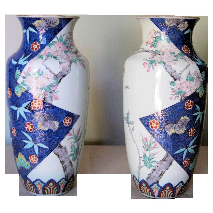 Pair of Exquisite Japanese Meiji Period Porcelain Arita Vases