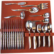 SOLD 73 Pc Set 1847 Rogers Firesong Stainless Steel Flatware Service for 12 with 10 Serving Pi
