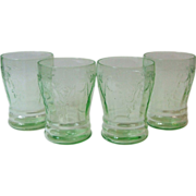 Hocking Cameo Green Depression 4 Flat Tumbler Glasses 9 oz