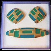 SALE Trifari TM Bar Pin Clip Earrings Blue Green Enamel Gold Tone Metal