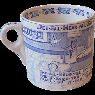 Crown Devon Fieldings Yorkshiremans Advice Mug Blue and White Transfer Ware Staffordshire England