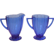 Hazel Atlas Newport Hairpin Cobalt Blue Footed Creamer and Sugar Bowl Depression Glass