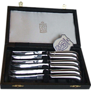 SOLD Set of 6 Kirk and Matz Queen Anne Stainless Steel Fruit Knives 6.5 Inch In Case