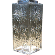Vintage Dartington Marguerite Vase Square Top Clear Textured Art Glass Daisy England with Labe