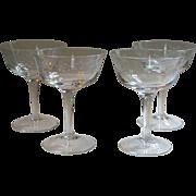 Noritake Carolyn Crystal Set of 4 Sherbet Coupe Champagne Glasses