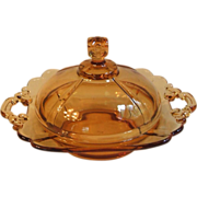 Cambridge 3400 Amber Glass Round Butter Dish with Lid Square Knob