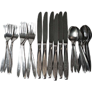 30 Pc Set International Insico Nassau Stainless Steel Flatware Mono G Six 4 Piece Place Settin