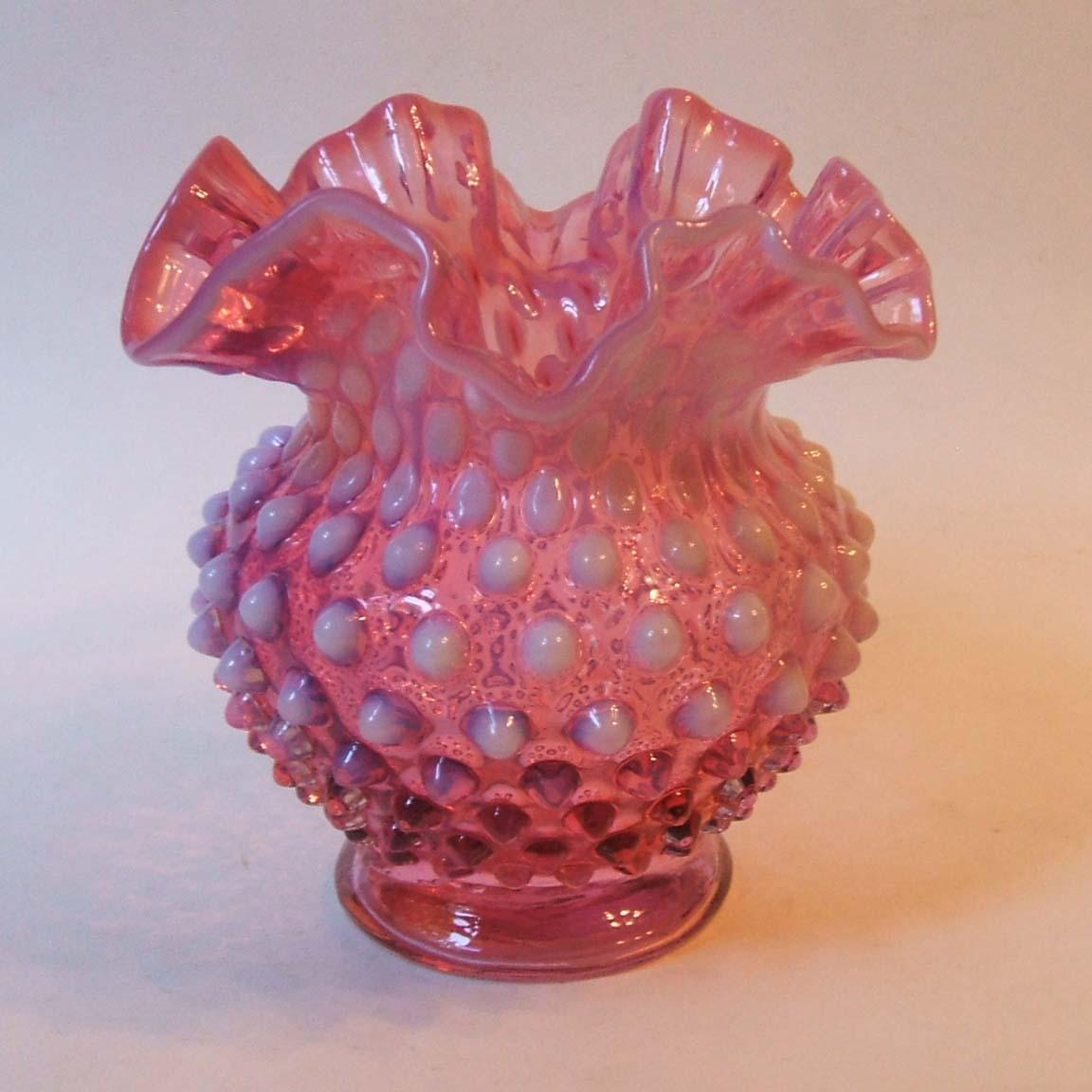 Vintage Fenton Glass Cranberry Opalescent Hobnail 4 5 Inch Double From Missingmemories On Ruby Lane