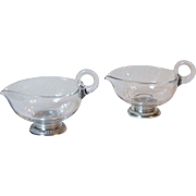 2 Vintage Crystal Gravy Sauce Boats With Sterling Silver Bases