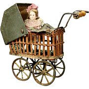 Antique Miniature Wicker Doll Carriage with Bisque Baby Girl