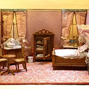 The Pink Bedroom - Antique Miniature Boxed Bedroom with Schneegas furniture - For the French M