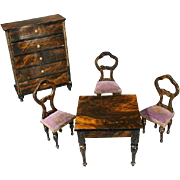 Superb Early German Faux-Grained Parlor Set with Mauve Velvet Upholstery