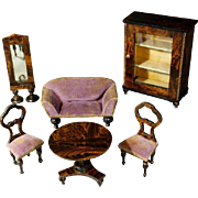 Superb Early German Faux-Grained Salon with Mauve Velvet Upholstery
