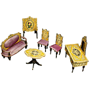 Rare 19th Century Dollhouse Lithographed Set with Dressing Table