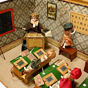 German Wooden School Room with All-Bisque Students