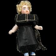 Rare Antique All-Bisque Lilliputian Doll - The Priest