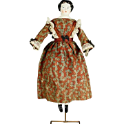 Early German Porcelain Doll with Articulated Leather Body