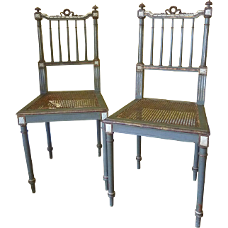 Pair of Italian Victorian Caned Side Chairs, ca 1840s