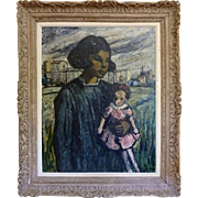 Framed Original Oil Painting, Girl with Doll, by Marcel Rendu, 20th Century