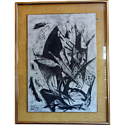 """Original Abstract Black and White Charcoal Drawing """"Ikarus"""" on Paper by Rewo Niessl,"""