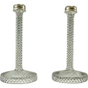 Pair of Vintage Pressed Glass Candlesticks, ca 1940s-1950s