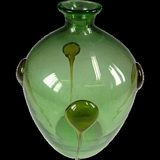 Wide Vintage Glass Green Bottle