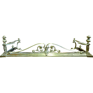 REDUCED Solid Brass Art Nouveau Style Fireplace Fender