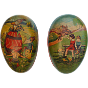 Pair of German Paper Mache Easter Eggs Candy Containers