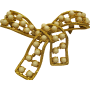 Vintage Milk Glass Beaded Gold Tone Bow Pin Broach